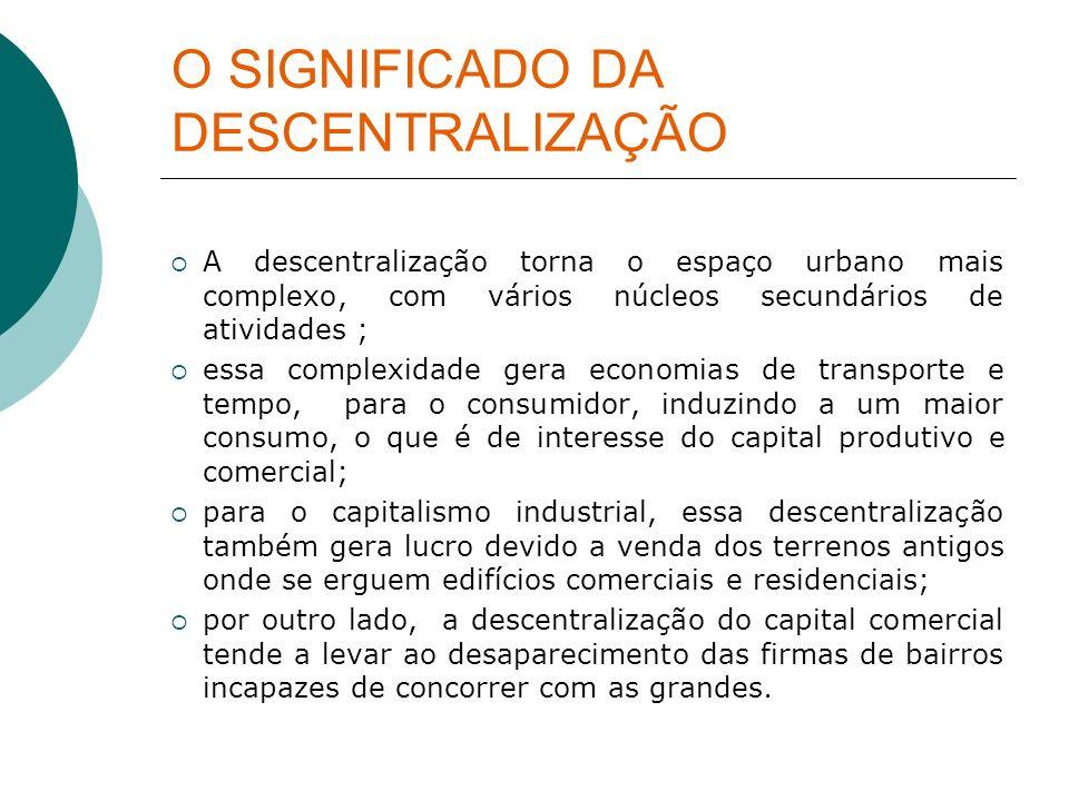 O SIGNIFICADO DA DESCENTRALIZAÇÃO A descentralização torna o espaço urbano mais complexo, com vários núcleos secundários de atividades ; essa complexi