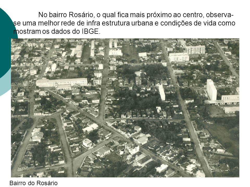 No bairro Rosário, o qual fica mais próximo ao centro, observa- se uma melhor rede de infra estrutura urbana e condições de vida como mostram os dados