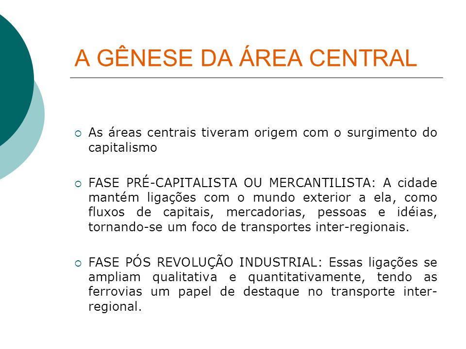 A GÊNESE DA ÁREA CENTRAL As áreas centrais tiveram origem com o surgimento do capitalismo FASE PRÉ-CAPITALISTA OU MERCANTILISTA: A cidade mantém ligaç