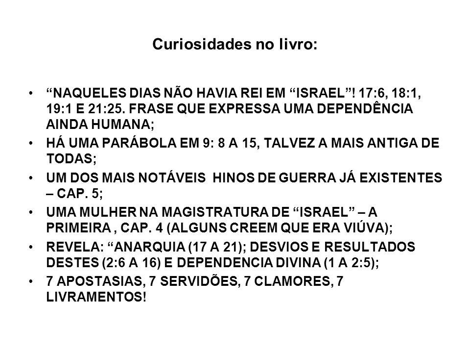 Curiosidades no livro: NAQUELES DIAS NÃO HAVIA REI EM ISRAEL! 17:6, 18:1, 19:1 E 21:25. FRASE QUE EXPRESSA UMA DEPENDÊNCIA AINDA HUMANA; HÁ UMA PARÁBO