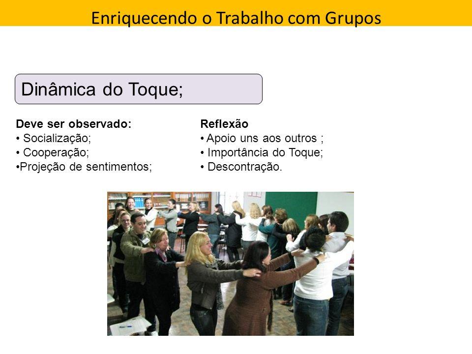 Enriquecendo o Trabalho com Grupos Direção que a pessoa toma Dinâmica do Toque; Deve ser observado: Socialização; Cooperação; Projeção de sentimentos;