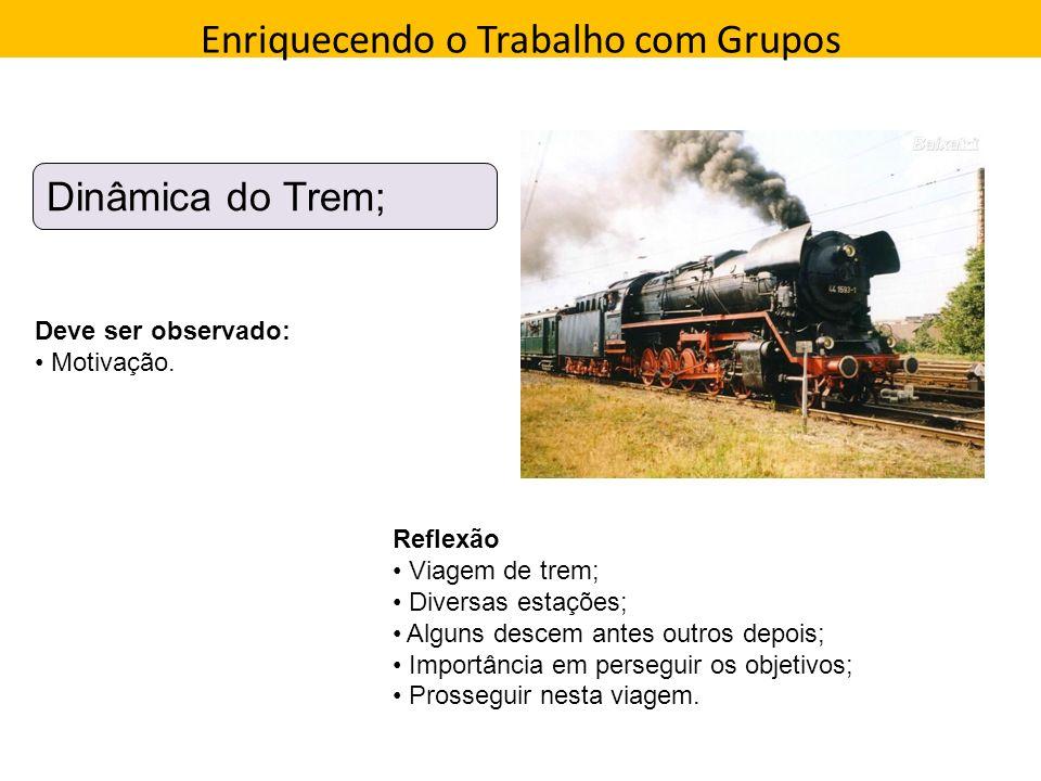 Enriquecendo o Trabalho com Grupos Direção que a pessoa toma Dinâmica do Trem; Deve ser observado: Motivação. Reflexão Viagem de trem; Diversas estaçõ