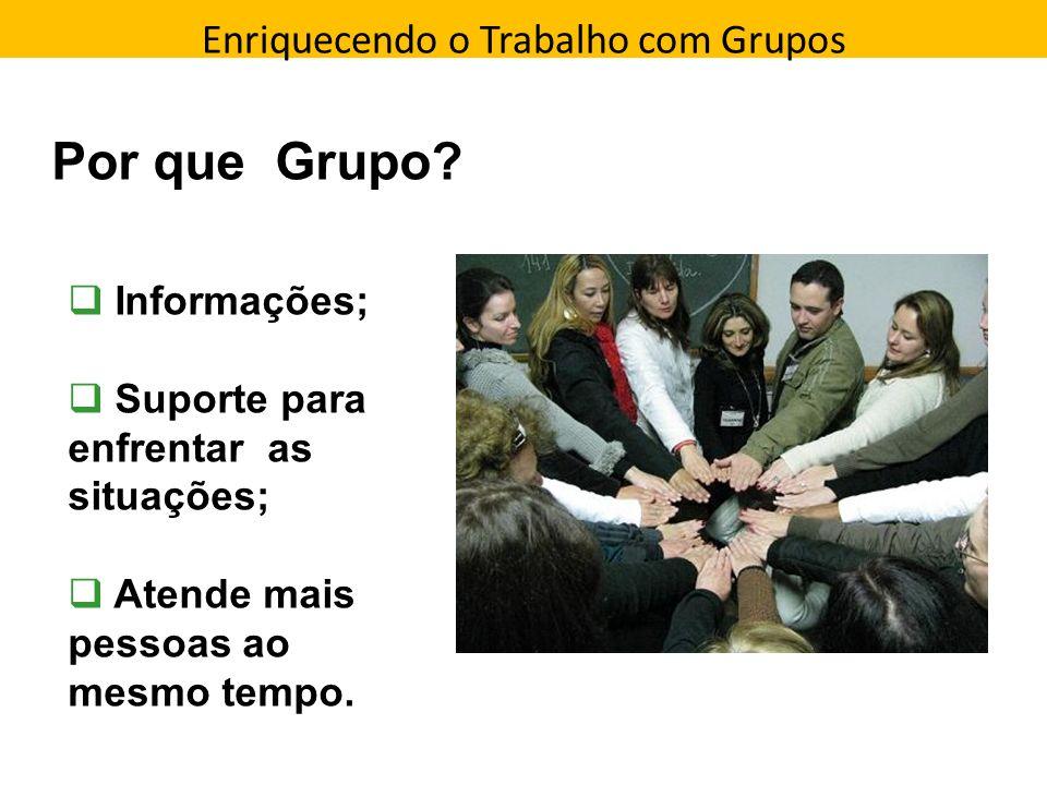 Enriquecendo o Trabalho com Grupos Direção que a pessoa toma Por que Grupo? Informações; Suporte para enfrentar as situações; Atende mais pessoas ao m