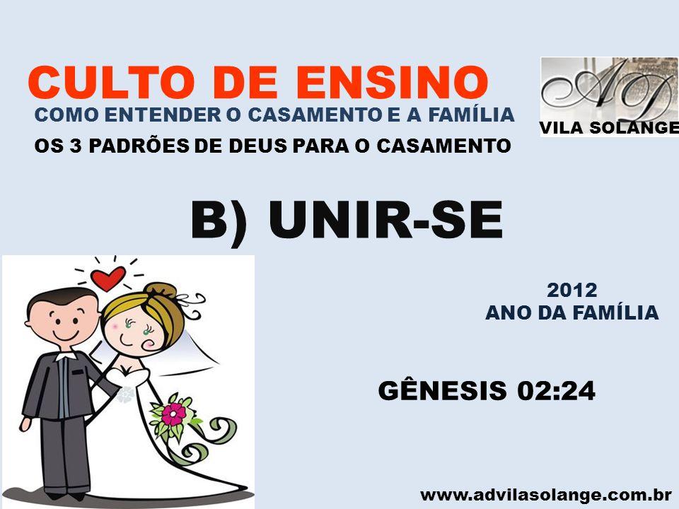 VILA SOLANGE www.advilasolange.com.br CULTO DE ENSINO COMO ENTENDER O CASAMENTO E A FAMÍLIA OS 3 PADRÕES DE DEUS PARA O CASAMENTO B) UNIR-SE GÊNESIS 0