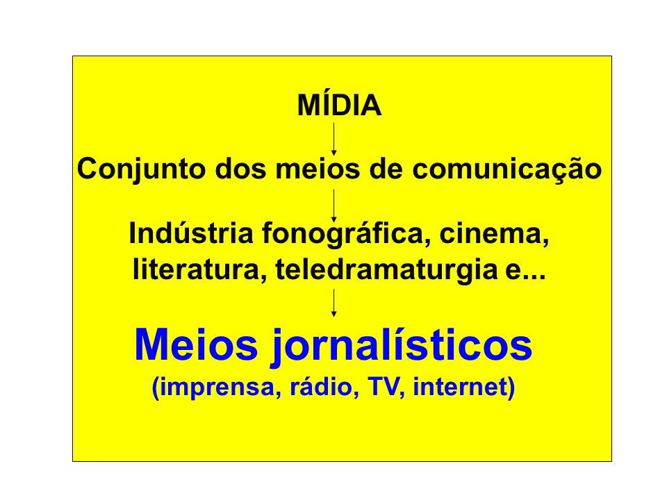 MÍDIA Conjunto dos meios de comunicação Indústria fonográfica, cinema, literatura, teledramaturgia e... Meios jornalísticos (imprensa, rádio, TV, inte