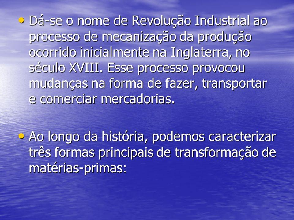 Dá-se o nome de Revolução Industrial ao processo de mecanização da produção ocorrido inicialmente na Inglaterra, no século XVIII. Esse processo provoc