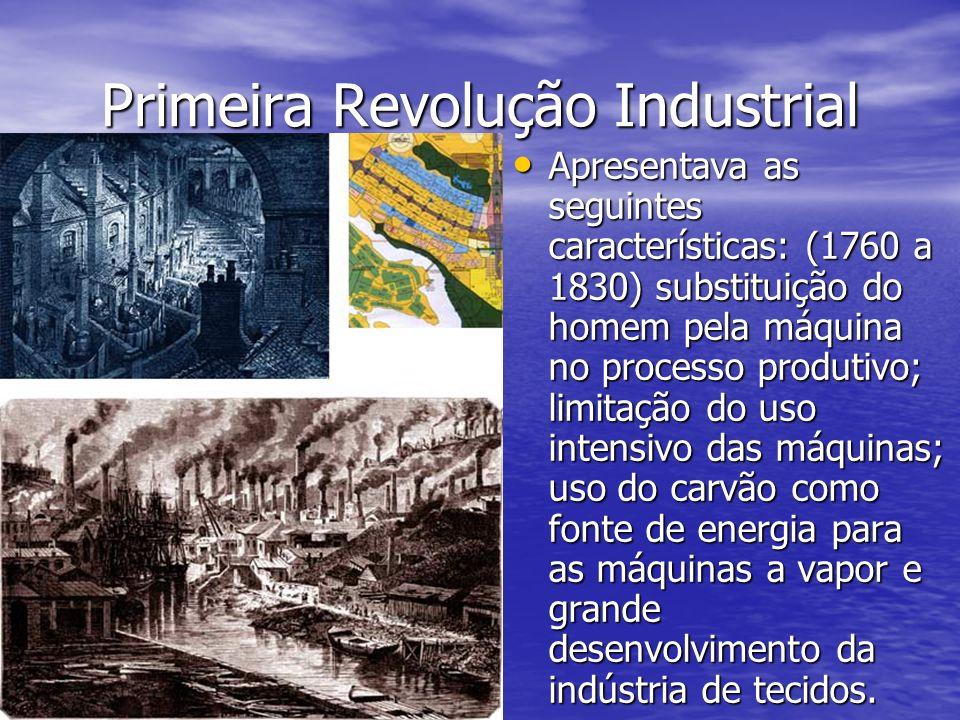 Primeira Revolução Industrial Apresentava as seguintes características: (1760 a 1830) substituição do homem pela máquina no processo produtivo; limita