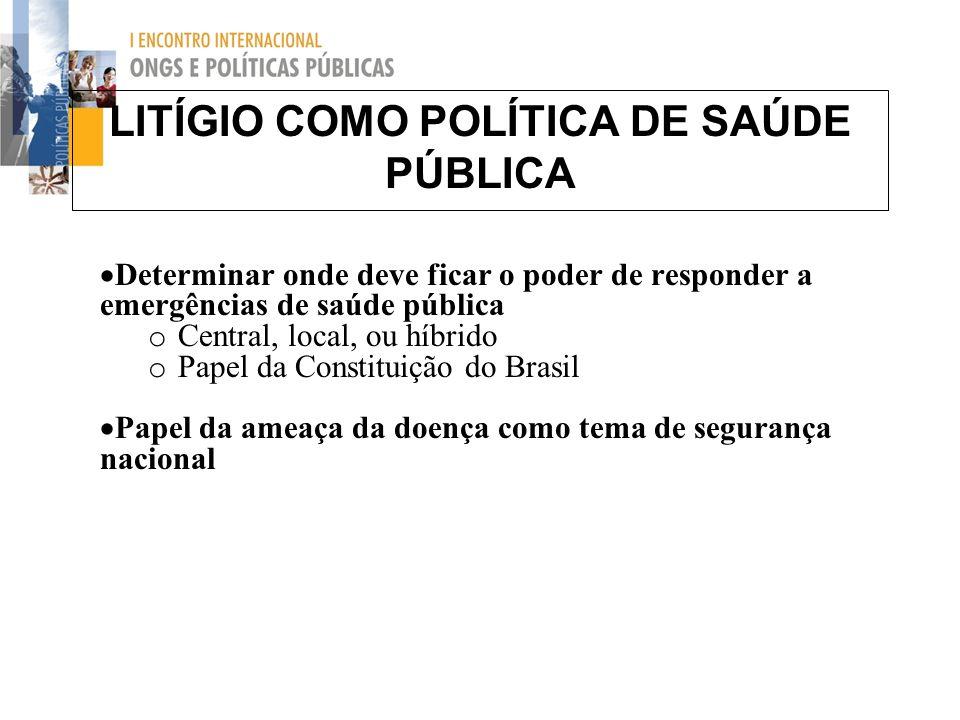 LITÍGIO COMO POLÍTICA DE SAÚDE PÚBLICA Determinar onde deve ficar o poder de responder a emergências de saúde pública o Central, local, ou híbrido o P