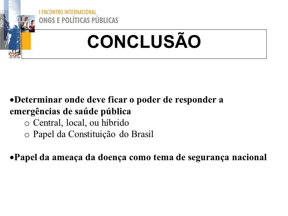 CONCLUSÃO Determinar onde deve ficar o poder de responder a emergências de saúde pública o Central, local, ou híbrido o Papel da Constituição do Brasi