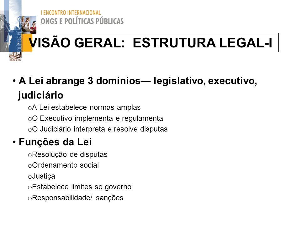 VISÃO GERAL: ESTRUTURA LEGAL-I A Lei abrange 3 domínios legislativo, executivo, judiciário o A Lei estabelece normas amplas o O Executivo implementa e