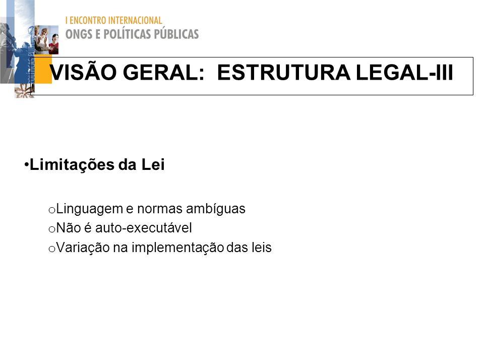VISÃO GERAL: ESTRUTURA LEGAL-III Limitações da Lei o Linguagem e normas ambíguas o Não é auto-executável o Variação na implementação das leis