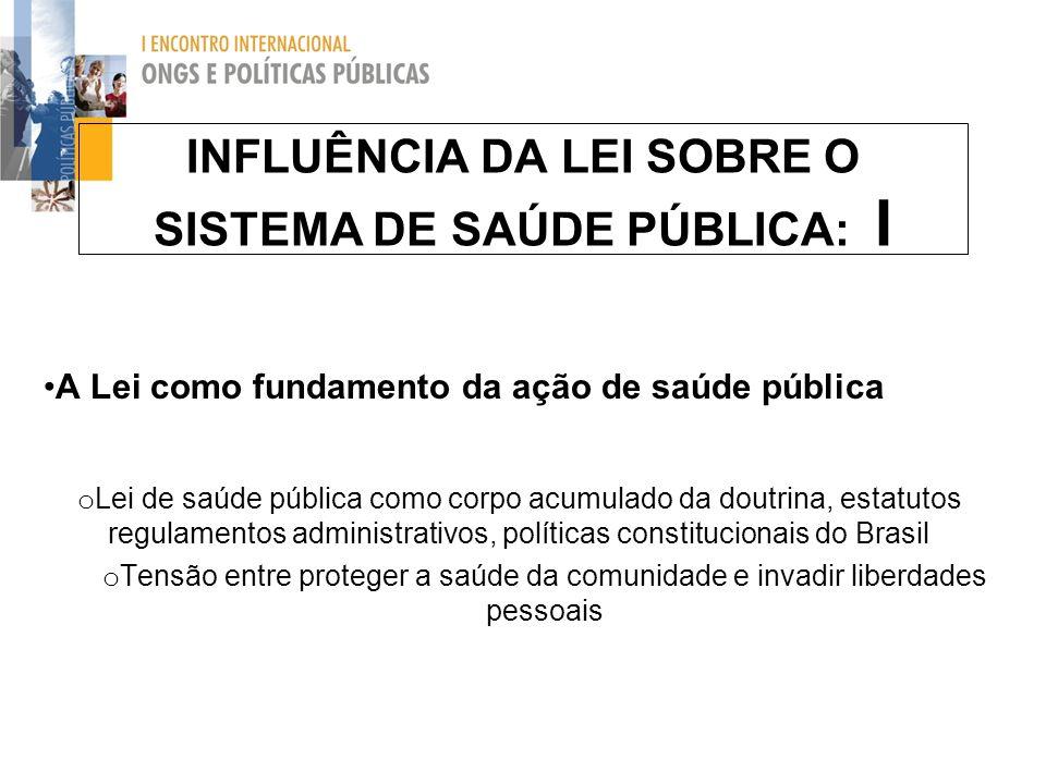 INFLUÊNCIA DA LEI SOBRE O SISTEMA DE SAÚDE PÚBLICA: I A Lei como fundamento da ação de saúde pública o Lei de saúde pública como corpo acumulado da do
