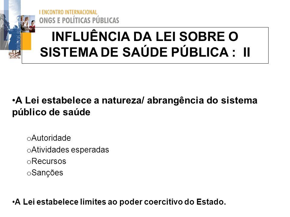 INFLUÊNCIA DA LEI SOBRE O SISTEMA DE SAÚDE PÚBLICA : II A Lei estabelece a natureza/ abrangência do sistema público de saúde o Autoridade o Atividades