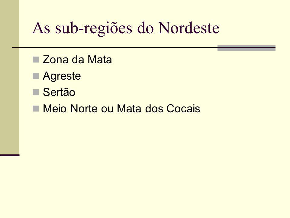 As sub-regiões do Nordeste Zona da Mata Agreste Sertão Meio Norte ou Mata dos Cocais