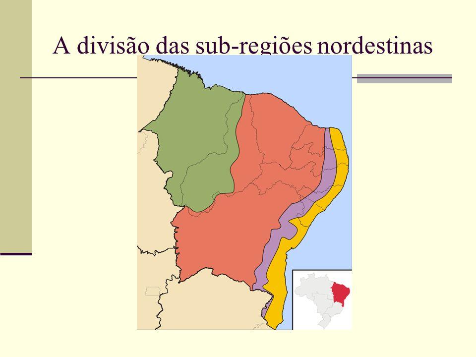 A divisão das sub-regiões nordestinas