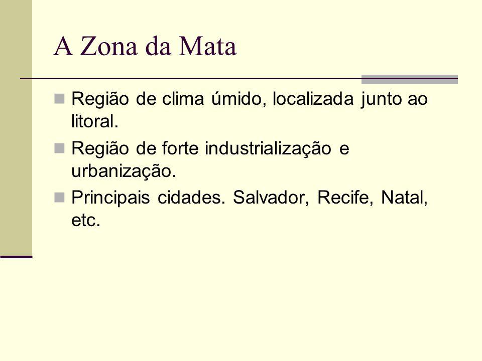 A Zona da Mata Região de clima úmido, localizada junto ao litoral. Região de forte industrialização e urbanização. Principais cidades. Salvador, Recif