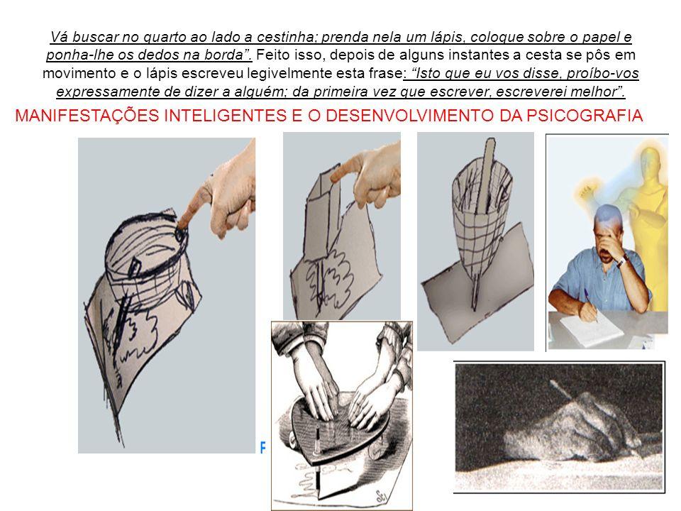 Vá buscar no quarto ao lado a cestinha; prenda nela um lápis, coloque sobre o papel e ponha-lhe os dedos na borda. Feito isso, depois de alguns instan