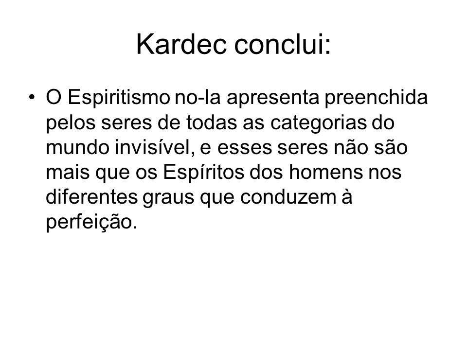 Kardec conclui: O Espiritismo no-la apresenta preenchida pelos seres de todas as categorias do mundo invisível, e esses seres não são mais que os Espí