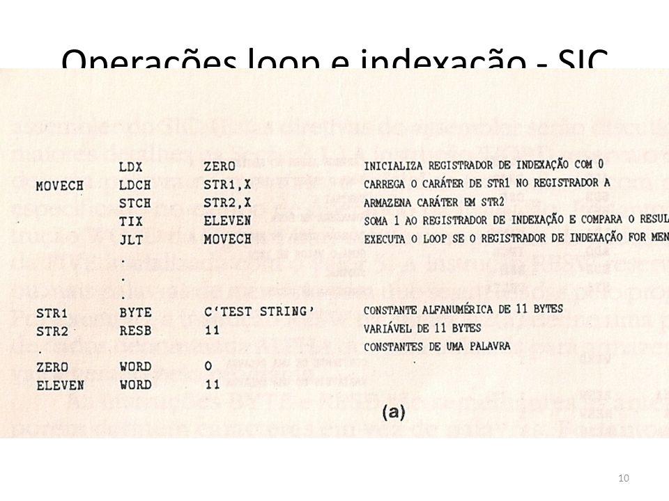 Operações loop e indexação - SIC 10