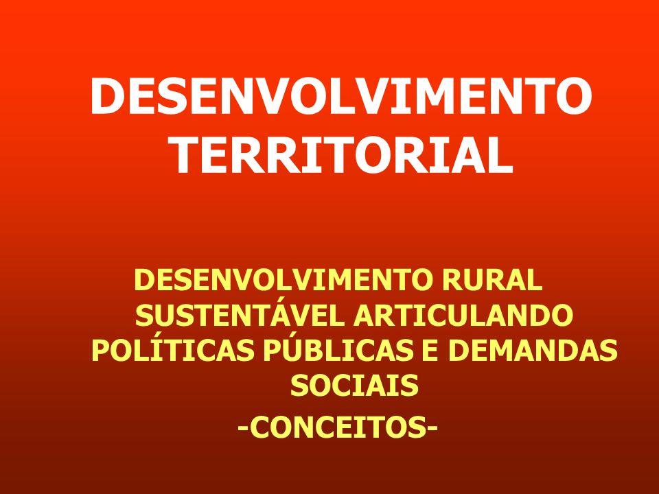 DESENVOLVIMENTO TERRITORIAL DESENVOLVIMENTO RURAL SUSTENTÁVEL ARTICULANDO POLÍTICAS PÚBLICAS E DEMANDAS SOCIAIS -CONCEITOS-