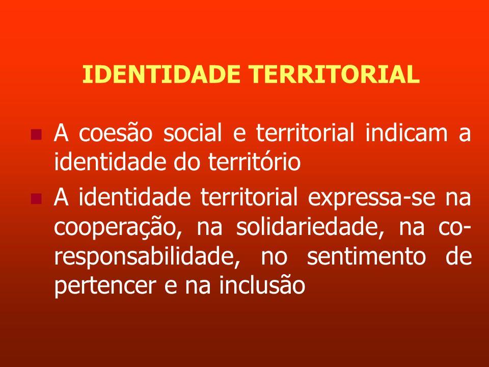 IDENTIDADE TERRITORIAL A coesão social e territorial indicam a identidade do território A identidade territorial expressa-se na cooperação, na solidar