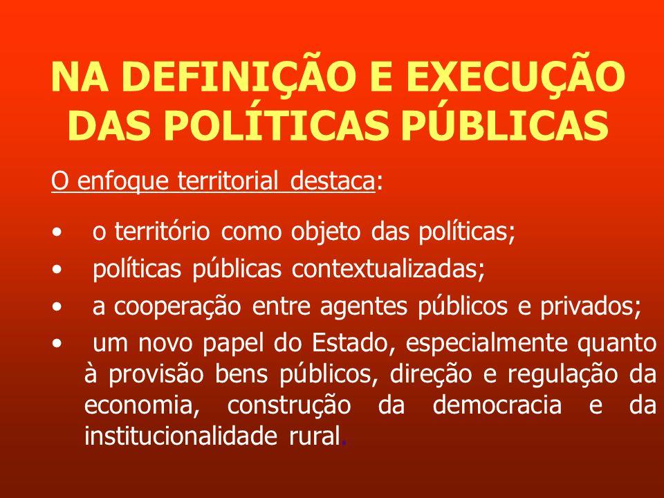 NA DEFINIÇÃO E EXECUÇÃO DAS POLÍTICAS PÚBLICAS O enfoque territorial destaca: o território como objeto das políticas; políticas públicas contextualiza