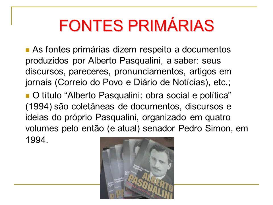 FONTES PRIMÁRIAS As fontes primárias dizem respeito a documentos produzidos por Alberto Pasqualini, a saber: seus discursos, pareceres, pronunciamento