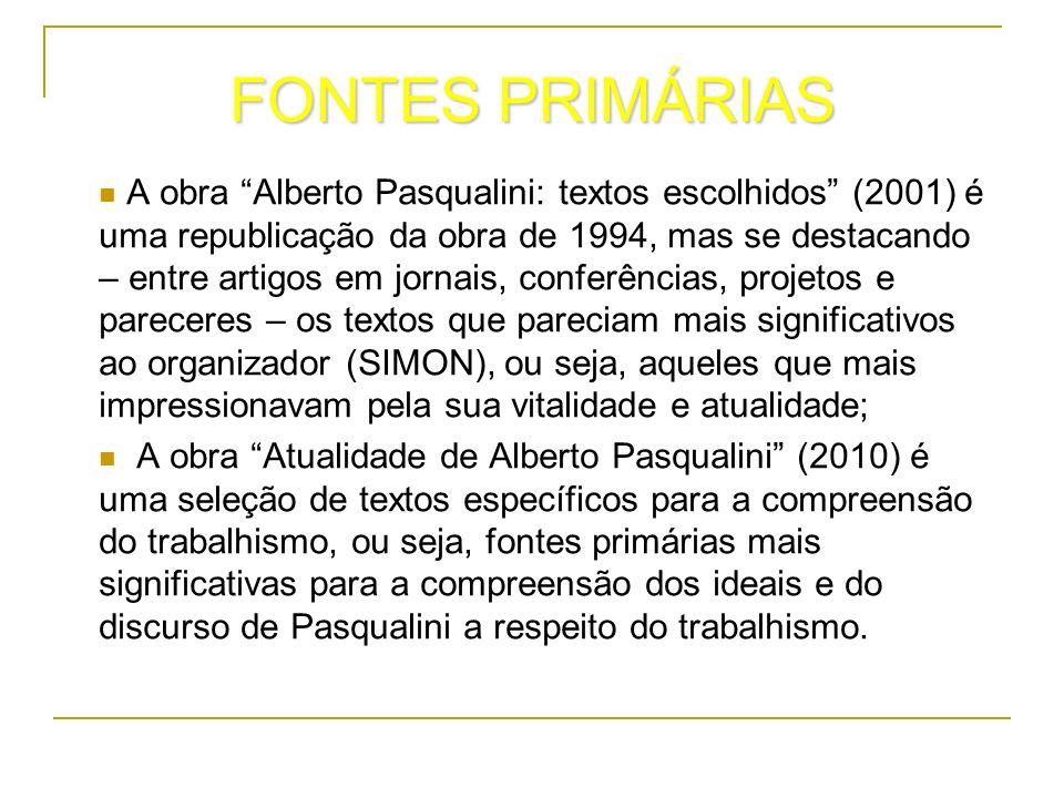 FONTES PRIMÁRIAS A obra Alberto Pasqualini: textos escolhidos (2001) é uma republicação da obra de 1994, mas se destacando – entre artigos em jornais,