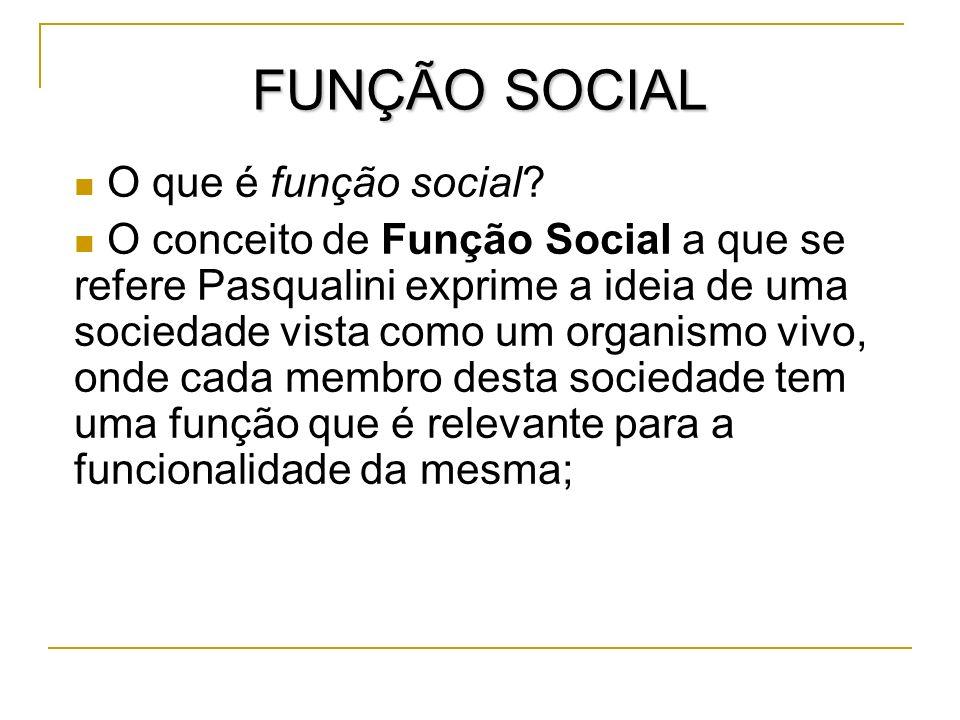 FUNÇÃO SOCIAL O que é função social? O conceito de Função Social a que se refere Pasqualini exprime a ideia de uma sociedade vista como um organismo v