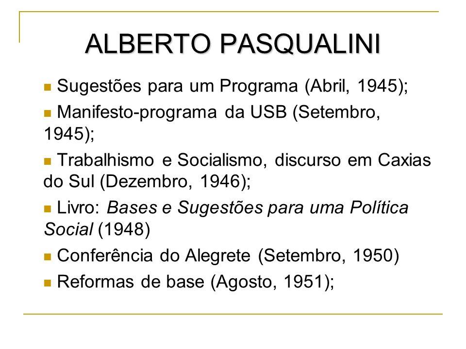 ALBERTO PASQUALINI Sugestões para um Programa (Abril, 1945); Manifesto-programa da USB (Setembro, 1945); Trabalhismo e Socialismo, discurso em Caxias