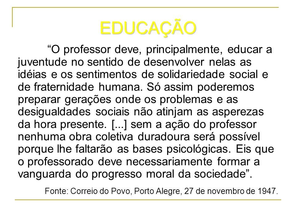 EDUCAÇÃO O professor deve, principalmente, educar a juventude no sentido de desenvolver nelas as idéias e os sentimentos de solidariedade social e de