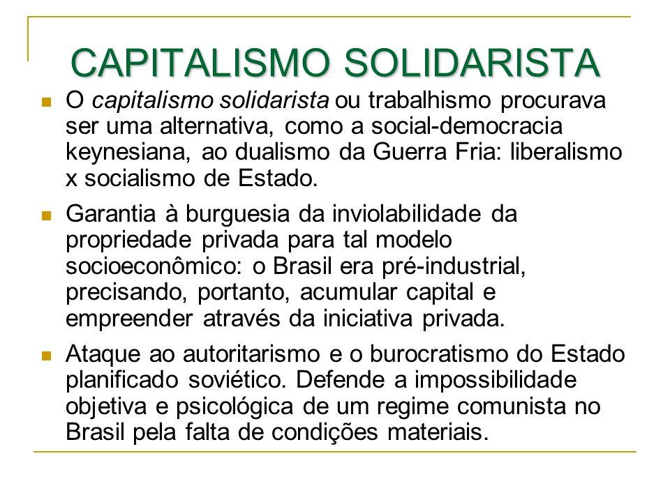 CAPITALISMO SOLIDARISTA O capitalismo solidarista ou trabalhismo procurava ser uma alternativa, como a social-democracia keynesiana, ao dualismo da Gu