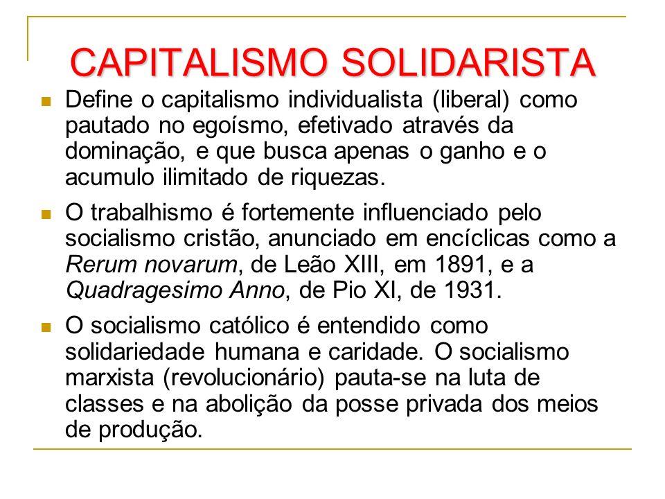 CAPITALISMO SOLIDARISTA Define o capitalismo individualista (liberal) como pautado no egoísmo, efetivado através da dominação, e que busca apenas o ga