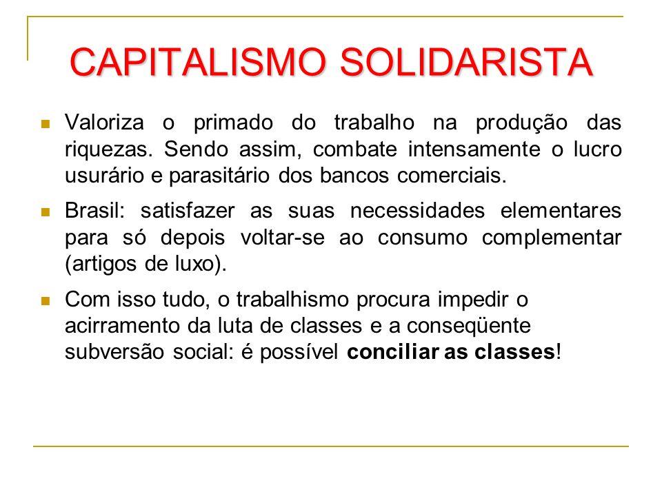 CAPITALISMO SOLIDARISTA Valoriza o primado do trabalho na produção das riquezas. Sendo assim, combate intensamente o lucro usurário e parasitário dos