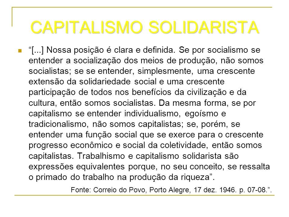 CAPITALISMO SOLIDARISTA [...] Nossa posição é clara e definida. Se por socialismo se entender a socialização dos meios de produção, não somos socialis