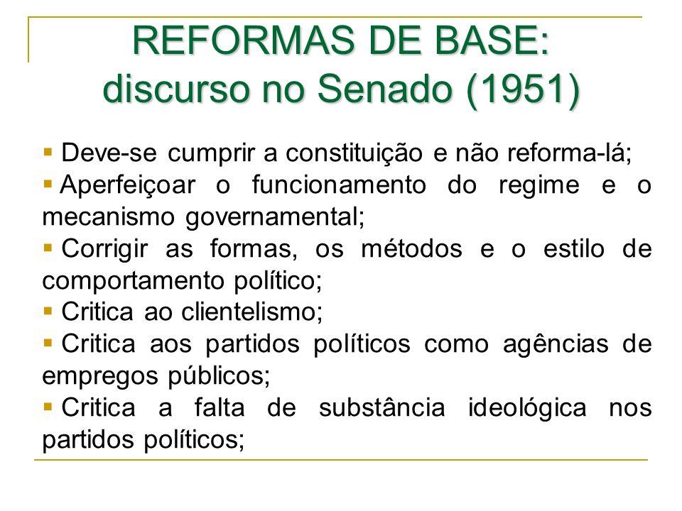 REFORMAS DE BASE: discurso no Senado (1951) Deve-se cumprir a constituição e não reforma-lá; Aperfeiçoar o funcionamento do regime e o mecanismo gover