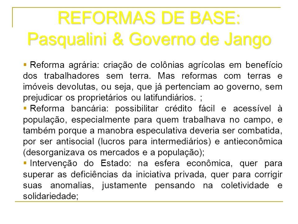 REFORMAS DE BASE: Pasqualini & Governo de Jango Reforma agrária: criação de colônias agrícolas em benefício dos trabalhadores sem terra. Mas reformas