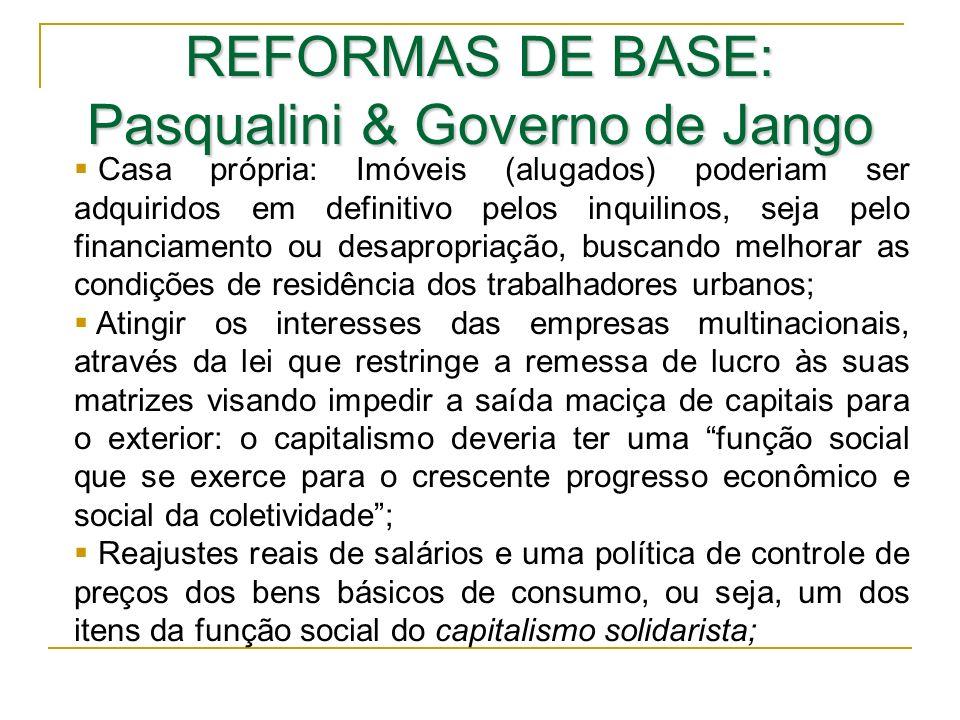 REFORMAS DE BASE: Pasqualini & Governo de Jango Casa própria: Imóveis (alugados) poderiam ser adquiridos em definitivo pelos inquilinos, seja pelo fin
