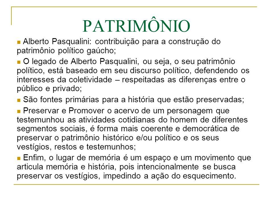 Alberto Pasqualini: contribuição para a construção do patrimônio político gaúcho; O legado de Alberto Pasqualini, ou seja, o seu patrimônio político,