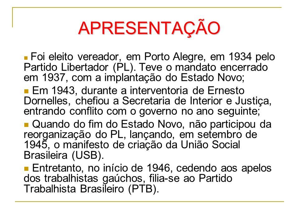 APRESENTAÇÃO Foi eleito vereador, em Porto Alegre, em 1934 pelo Partido Libertador (PL). Teve o mandato encerrado em 1937, com a implantação do Estado