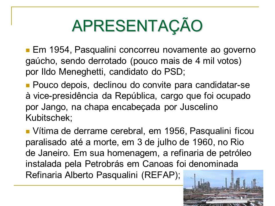 APRESENTAÇÃO Em 1954, Pasqualini concorreu novamente ao governo gaúcho, sendo derrotado (pouco mais de 4 mil votos) por Ildo Meneghetti, candidato do