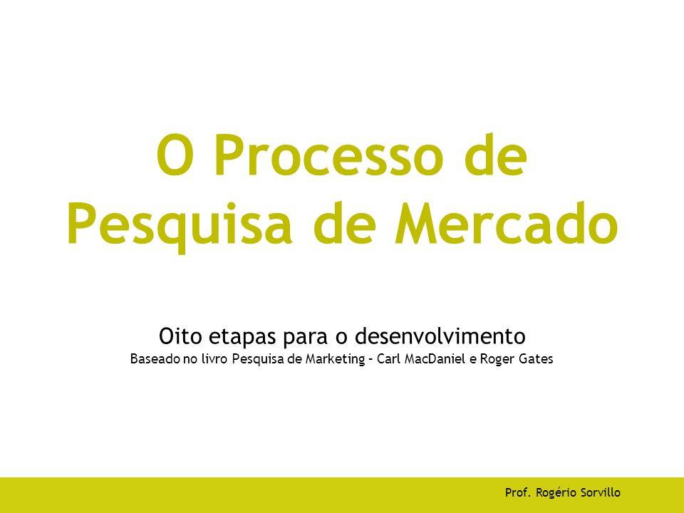 O Processo de Pesquisa de Mercado Oito etapas para o desenvolvimento Baseado no livro Pesquisa de Marketing – Carl MacDaniel e Roger Gates Prof. Rogér