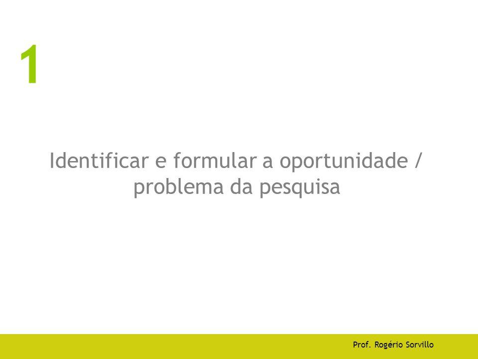 Identificar e formular a oportunidade / problema da pesquisa Prof. Rogério Sorvillo 1