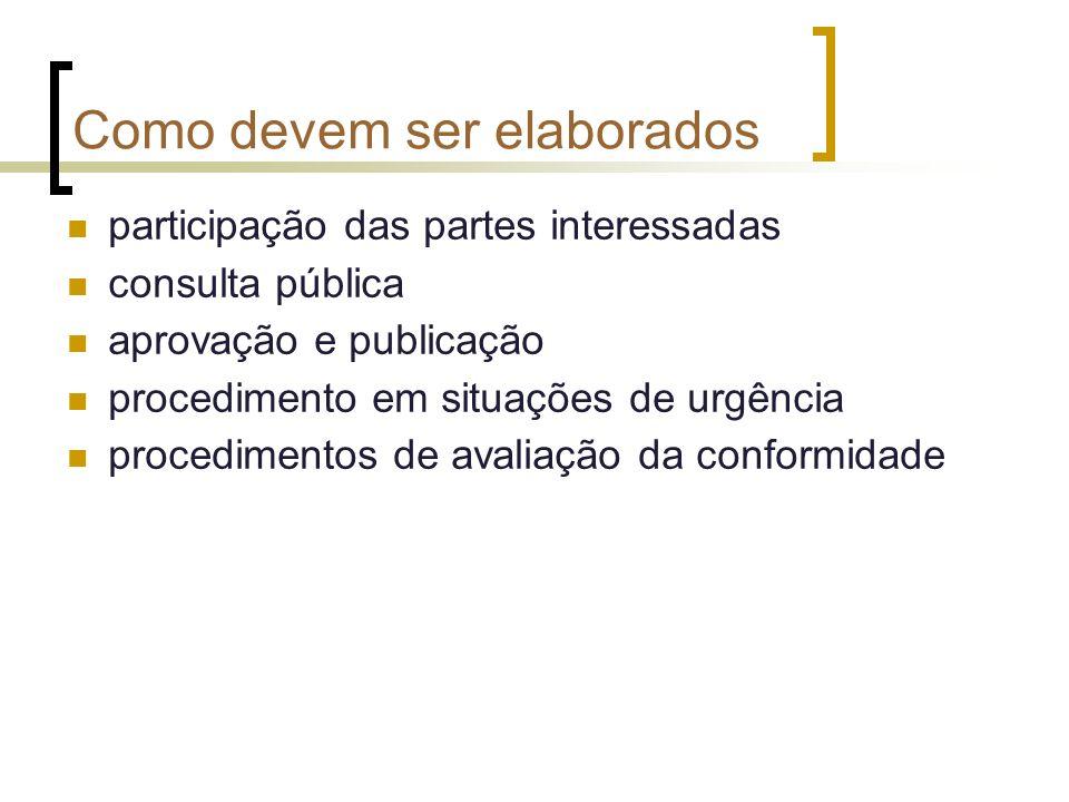 Como devem ser elaborados participação das partes interessadas consulta pública aprovação e publicação procedimento em situações de urgência procedimentos de avaliação da conformidade