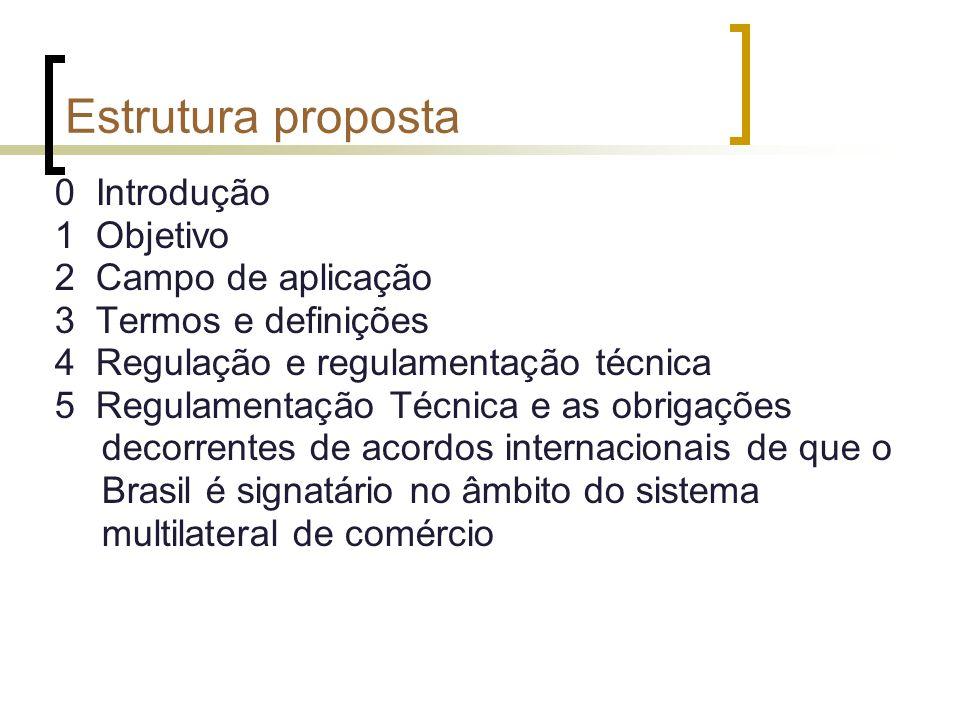 Estrutura proposta 0 Introdução 1 Objetivo 2 Campo de aplicação 3 Termos e definições 4 Regulação e regulamentação técnica 5 Regulamentação Técnica e as obrigações decorrentes de acordos internacionais de que o Brasil é signatário no âmbito do sistema multilateral de comércio