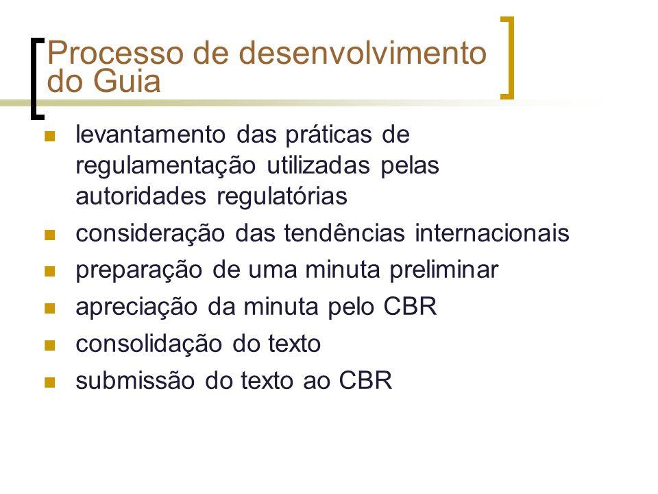 Processo de desenvolvimento do Guia levantamento das práticas de regulamentação utilizadas pelas autoridades regulatórias consideração das tendências