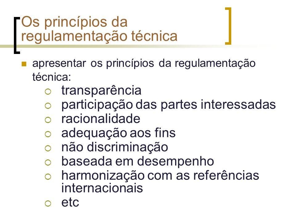Os princípios da regulamentação técnica apresentar os princípios da regulamentação técnica: transparência participação das partes interessadas raciona