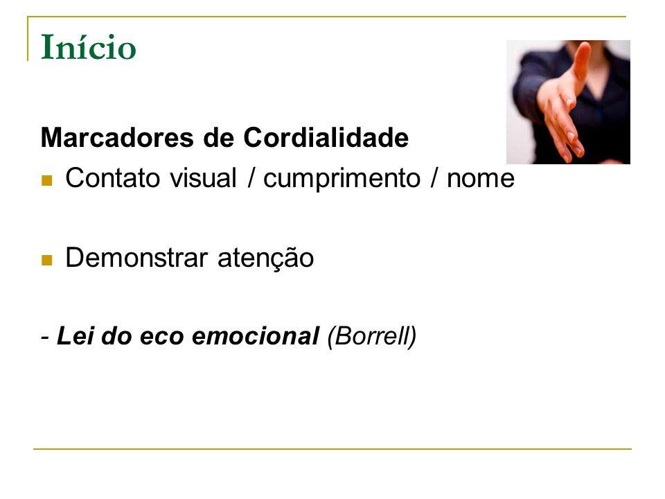 Início Marcadores de Cordialidade Contato visual / cumprimento / nome Demonstrar atenção - Lei do eco emocional (Borrell)