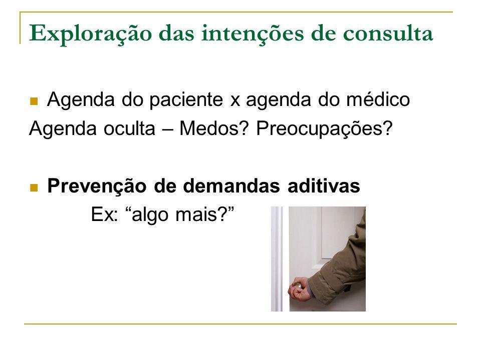 Exploração das intenções de consulta Agenda do paciente x agenda do médico Agenda oculta – Medos? Preocupações? Prevenção de demandas aditivas Ex: alg