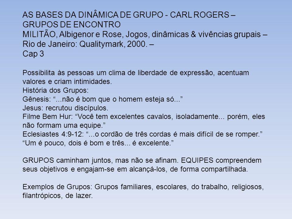 AS BASES DA DINÂMICA DE GRUPO - CARL ROGERS – GRUPOS DE ENCONTRO MILITÃO, Albigenor e Rose, Jogos, dinâmicas & vivências grupais – Rio de Janeiro: Qua